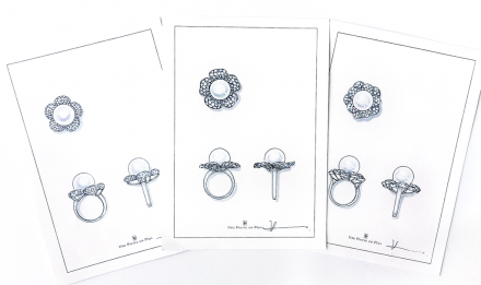 リフォーム(リメイク)のために描いた南洋真珠リングのデザイン画3枚の写真