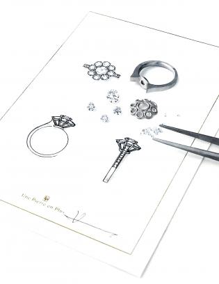 銀座オーダージュエリーサロンでは綿密なデザイン画で提案します。