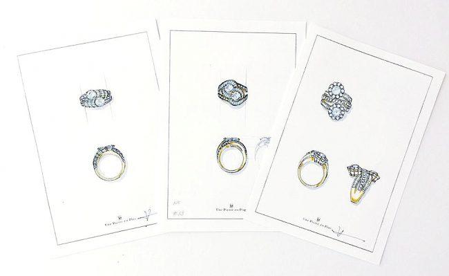 リフォーム(リ・スタイル)のために描いたジュエリーデザイナー岡田訓明のデザイン画3枚の写真