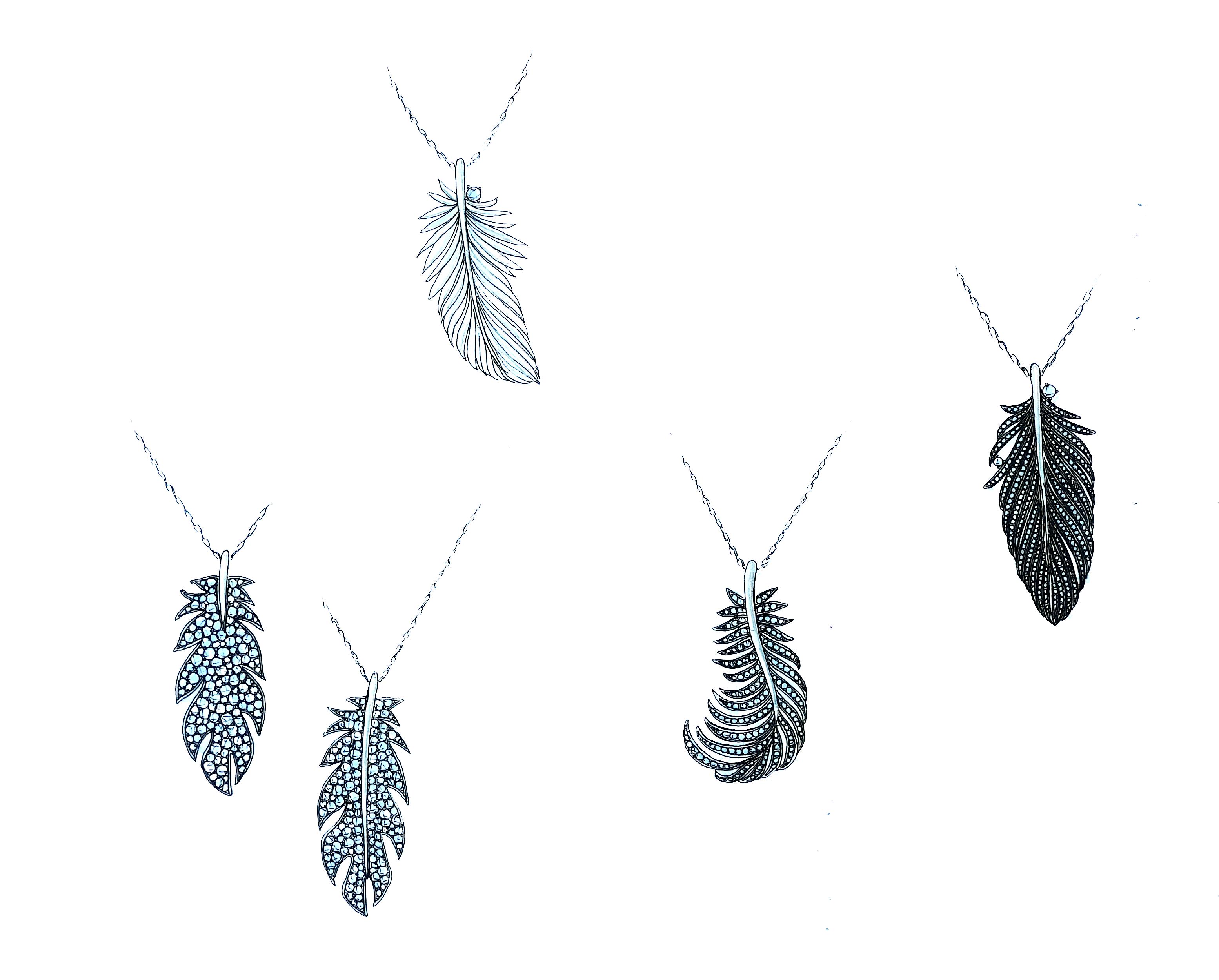 銀座オーダージュエリーサロンでデザイナーから様々な羽根の提案をされた。