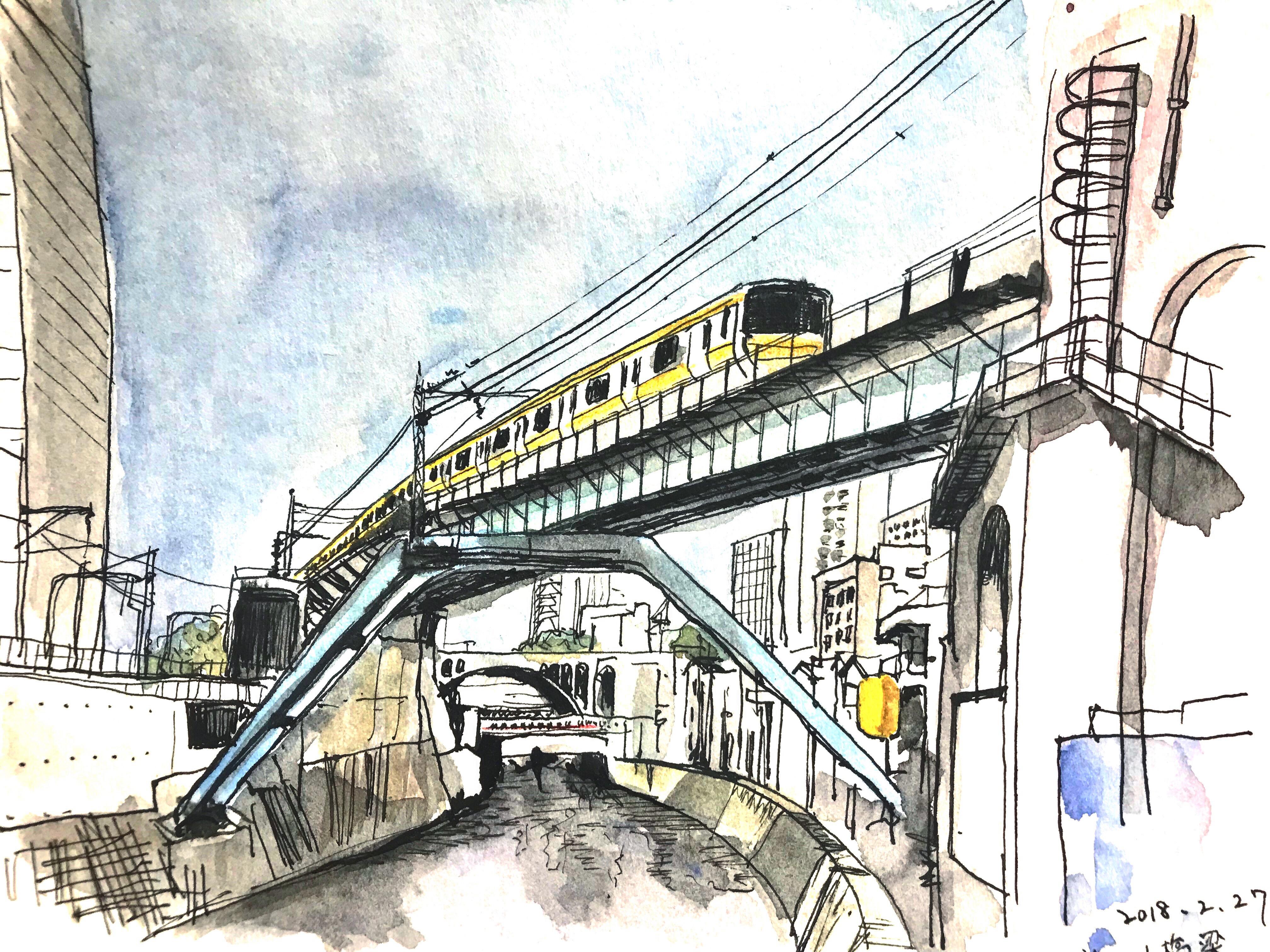 昌平橋から見た神田川橋梁のスケッチ