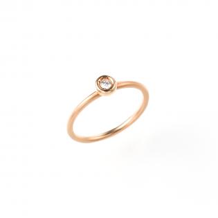 ピンクゴールドダイヤモンドピンキーリングの画像