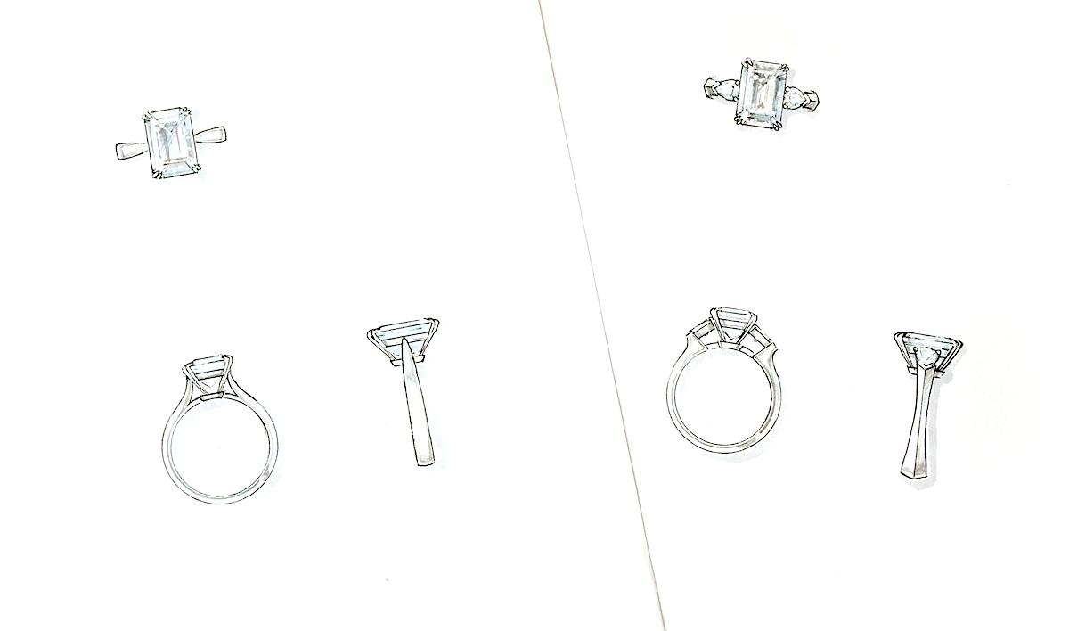 銀座オーダージュエリーサロンでシンプルで美しいデザインをして頂いた。