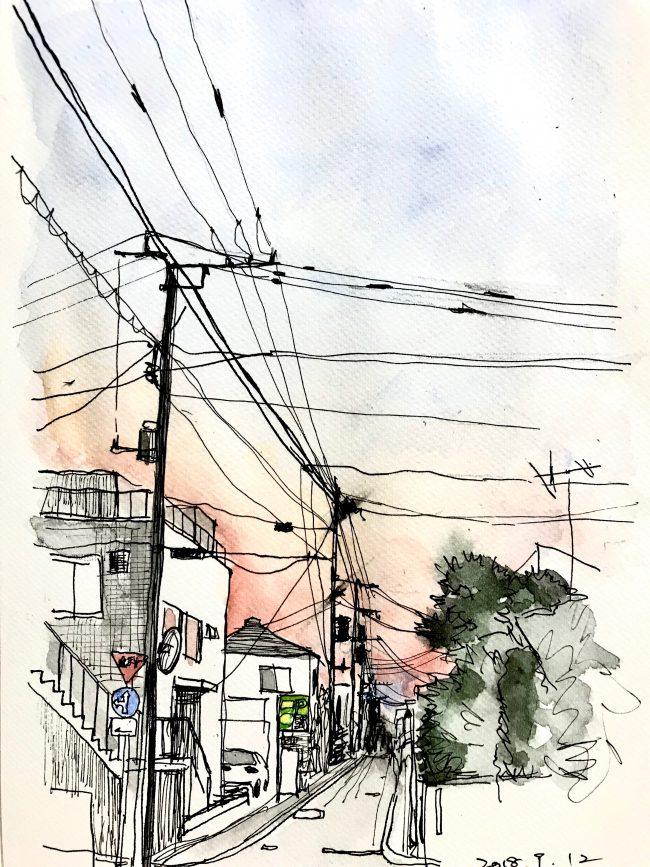 ジュエリーデザイナー岡田訓明が描いた夕刻のスケッチ
