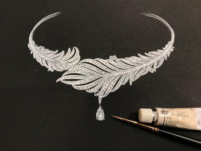 デザイナー岡田訓明が羽根をモチーフに描いたネックレスのデザイン画と水彩絵の具のホワイトと筆を置いた写真