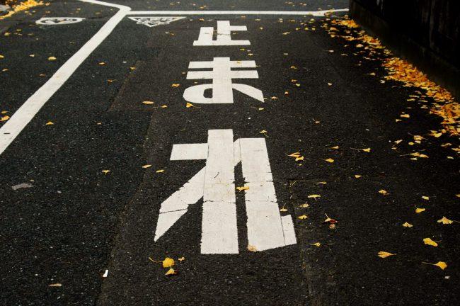 落ち葉がちらほら落ちてる道路にかかれて止まれの白文字