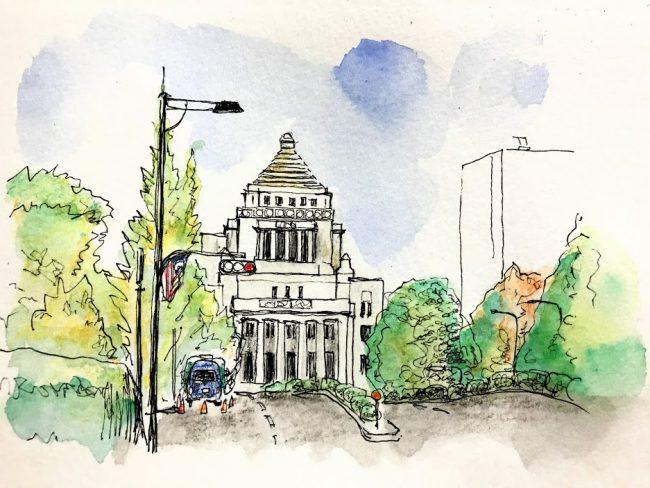 ジュエリーデザイナー岡田訓明が描いた国会議事堂の水彩画