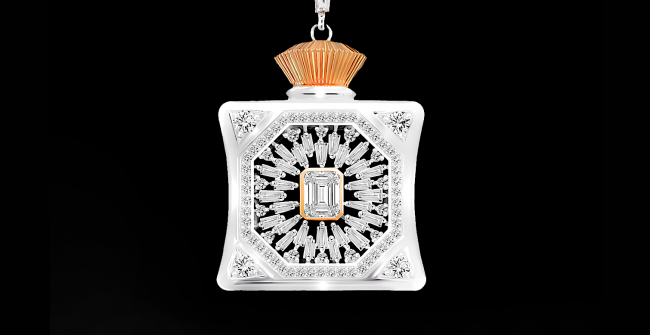 テーパーダイヤモンドのペンダントネックレス