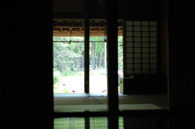 江戸東京たてもの園の江戸農家の家の中から外を撮った写真