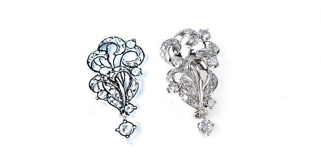 余ったメレダイヤモンドを使ったブローチ
